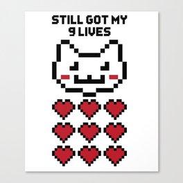 9 Lives Cat Gamer Design Canvas Print