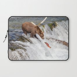 Grizzly bear face to face with salmon Laptop Sleeve