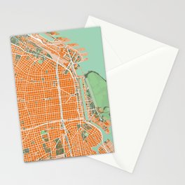 Buenos Aires city map orange Stationery Cards