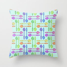 Colorful Spoons Print Throw Pillow