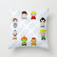 street fighter Throw Pillows featuring A Boy - Street fighter by Christophe Chiozzi
