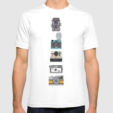 Camera Collection (Blue) MEDIUM White Mens Fitted Tee