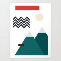 twin peaks Art Prints featuring Twin Peaks by Art by FOUR.