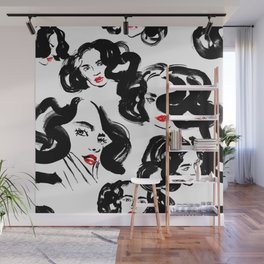 A pattern of glamorous girls with wavy hair - in black and red colors Wall Mural