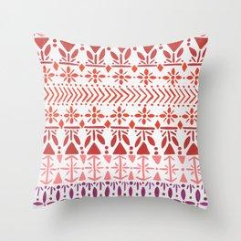 Norwegian Pattern – Reds & Corals Throw Pillow