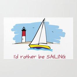 I'd Rather Be Sailing Sailboat and Lighthouse Illustration Rug
