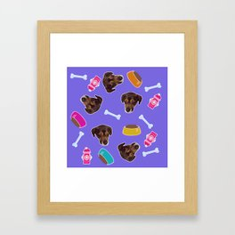 Puppy in the sky with dog bones Framed Art Print