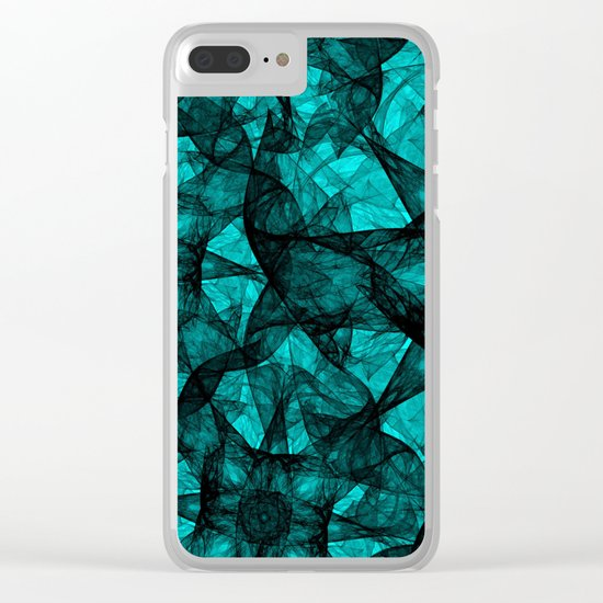 Fractal Art Turquoise G52 Clear iPhone Case