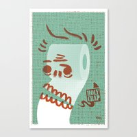 toilet Canvas Prints featuring Toilet Paper by YONIL