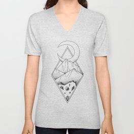 Geometric mountain in a diamonds with moon (tattoo style - black and white) Unisex V-Neck