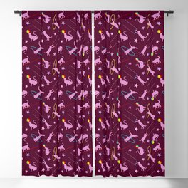 Acrobatic Cats in Dark Pink Blackout Curtain