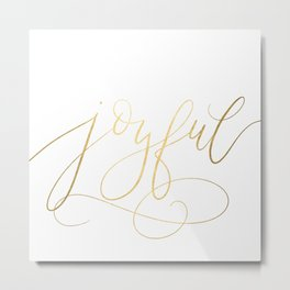 Gold Foil Flourished Calligraphy / Hand lettered gold foil typography Metal Print
