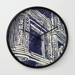 victorian house facade detail linocut print Wall Clock