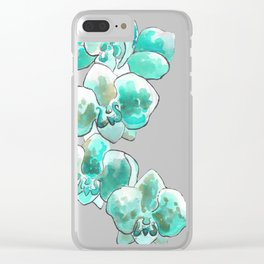 Orchid turquoise Clear iPhone Case