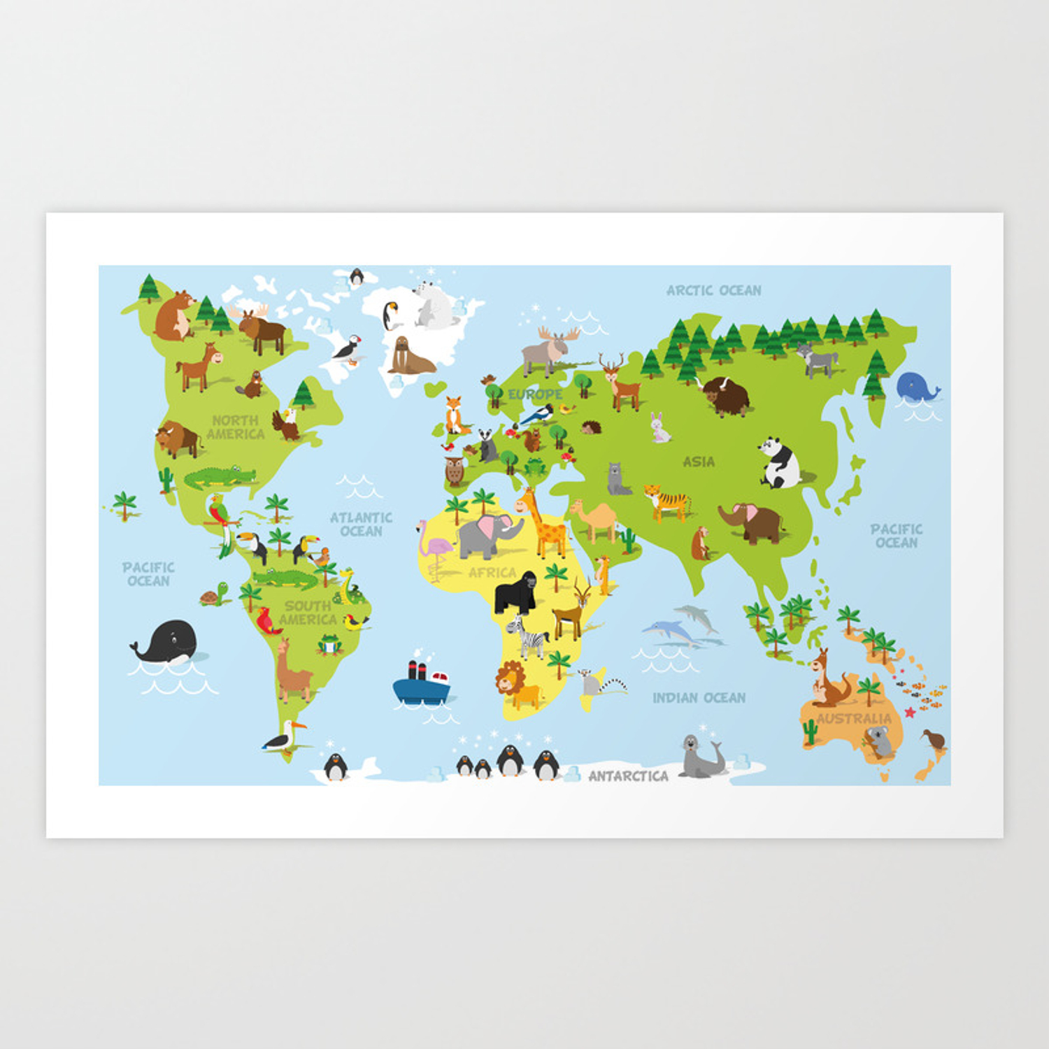 Funny Cartoon World Map With Traditional Animals Of All The Continents And Oceans Art Print By 79dsigns Society6