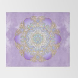 Purple & Gold Mandala Throw Blanket