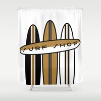 surfboard Shower Curtains featuring Surf Shop Surfboard Signage by Thomas Ramey