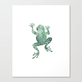 green lichen crawling frog silhouette Canvas Print