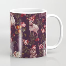 Cat and Floral Pattern Coffee Mug