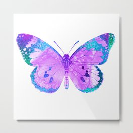 Pink-Lilac Butterfly With Glitter Blue Trim Metal Print