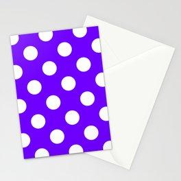 Large Polka Dots - White on Indigo Violet Stationery Cards