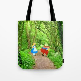 Alice and the Tweedles in the Forest Tote Bag