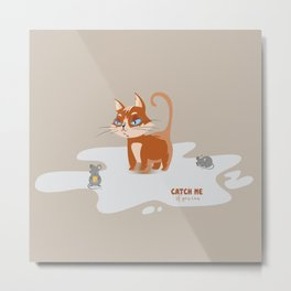Ginger Cat and Mice Catch me If You Can Metal Print