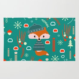 Cute fox waiting for Christmas Rug