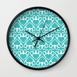 Paw Prints on my Heart - in Cyan Wall Clock
