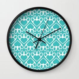 Paw Prints on my Heart - in Cyan Wall Clock