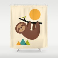 sloths Shower Curtains featuring Keep Calm And Live Slow by Andy Westface