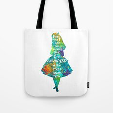 Alice In Wonderland - Quote - Colorful Watercolor White Text Tote Bag