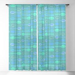 Teal Spoonie Print! Sheer Curtain