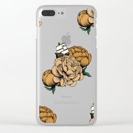 Sailing a Sea of Peonies - Vintage Yellow Clear iPhone Case