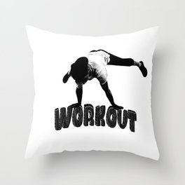 The guy is doing workout Throw Pillow