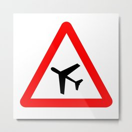 Low Flying Aircraft Traffic Sign Isolated Metal Print