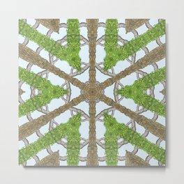 Bark Leaves Stone Kaleidoscope Art 1 Metal Print