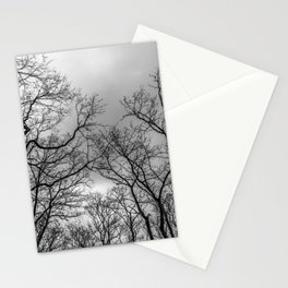Black and white naked trees silhouette Stationery Cards