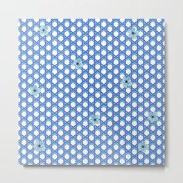 Blue Wicker with Blue Flowers Metal Print