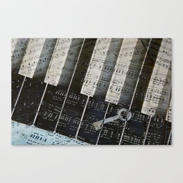 Piano Keys black and white - music notes Canvas Print
