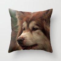 husky Throw Pillows featuring Husky by Doug McRae