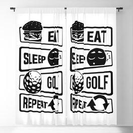 Eat Sleep Golf Repeat - Golf Ball Golf Course Putt Blackout Curtain