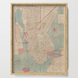 Vintage Map of Boston MA (1882) Serving Tray