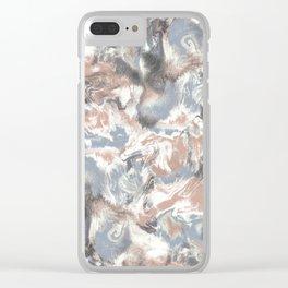 Marble Mist Terra Cotta Blue Clear iPhone Case