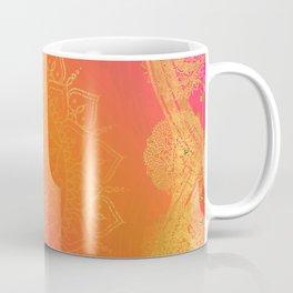 Fuchsia Pink Orange & Gold Indian Mandala Glam Coffee Mug