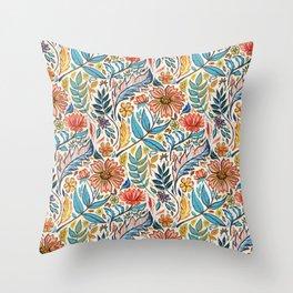 Vivid Colorful Art Nouveau Floral Throw Pillow