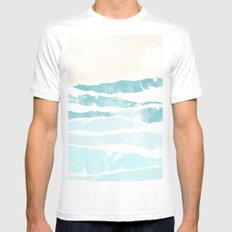 Sea waves Mens Fitted Tee MEDIUM White