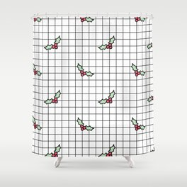 Holly Grid Shower Curtain