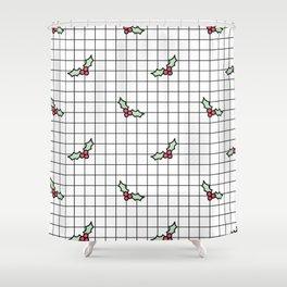 Holly Grid Shower Curtain
