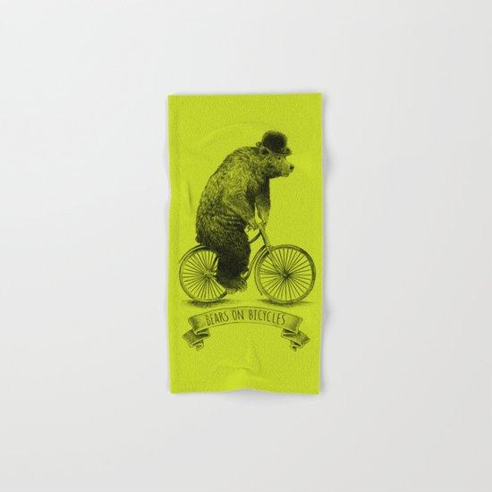 Bears on Bicycles (Lime) Hand & Bath Towel